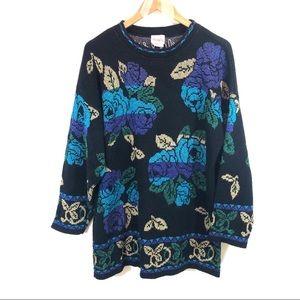 Vintage Metallic Rose Sweater Tunic M